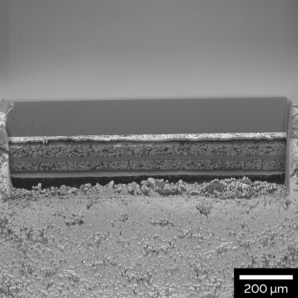 1 mm cross-section through a Li-ion battery electrode